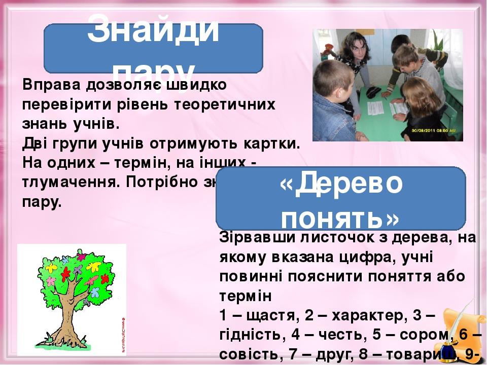 Знайди пару Вправа дозволяє швидко перевірити рівень теоретичних знань учнів. Дві групи учнів отримують картки. На одних – термін, на інших - тлума...