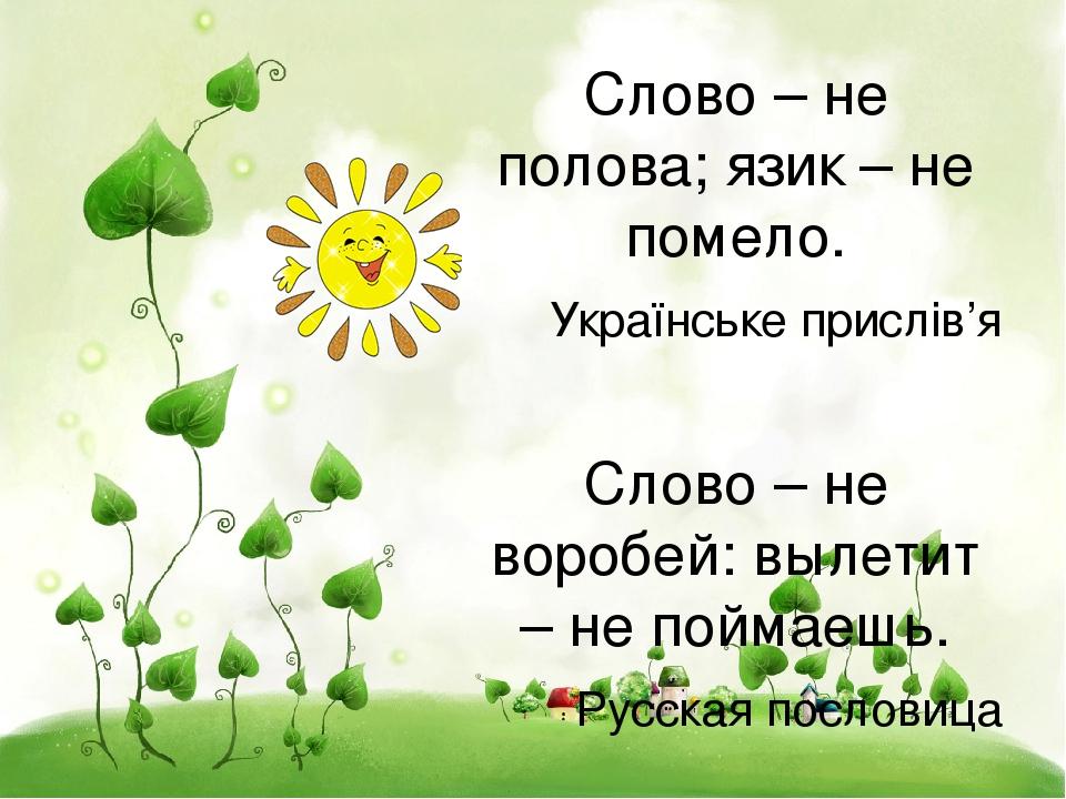 Слово – не полова; язик – не помело. Українське прислів'я Слово – не воробей: вылетит – не поймаешь. Русская пословица
