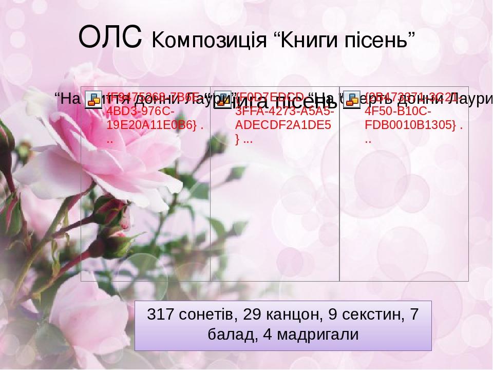 """ОЛС Композиція """"Книги пісень"""" 317 сонетів, 29 канцон, 9 секстин, 7 балад, 4 мадригали"""