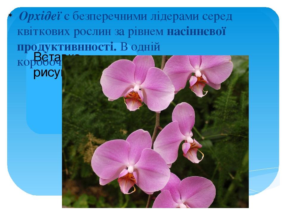 Орхідеї є безперечними лідерами серед квіткових рослин за рівнем насіннєвої продуктивнності. В одній коробочціутворюється до 4 млн. насінин.