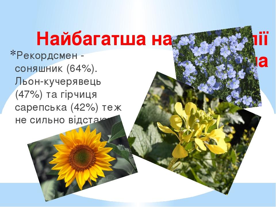 Найбагатша на жирні олії рослина Рекордсмен - соняшник (64%). Льон-кучерявець (47%) та гірчиця сарепська (42%) теж не сильно відстають.