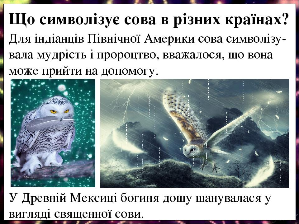 Для індіанців Північної Америки сова символізу-вала мудрість і пророцтво, вважалося, що вона може прийти на допомогу. У Древній Мексиці богиня дощу...