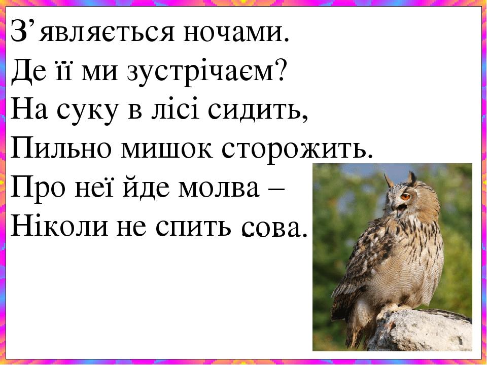 З'являється ночами. Де її ми зустрічаєм? На суку в лісі сидить, Пильно мишок сторожить. Про неї йде молва – Ніколи не спить ... . сова.