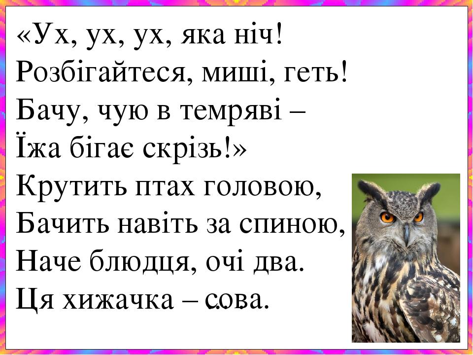 «Ух, ух, ух, яка ніч! Розбігайтеся, миші, геть! Бачу, чую в темряві – Їжа бігає скрізь!» Крутить птах головою, Бачить навіть за спиною, Наче блюдц...