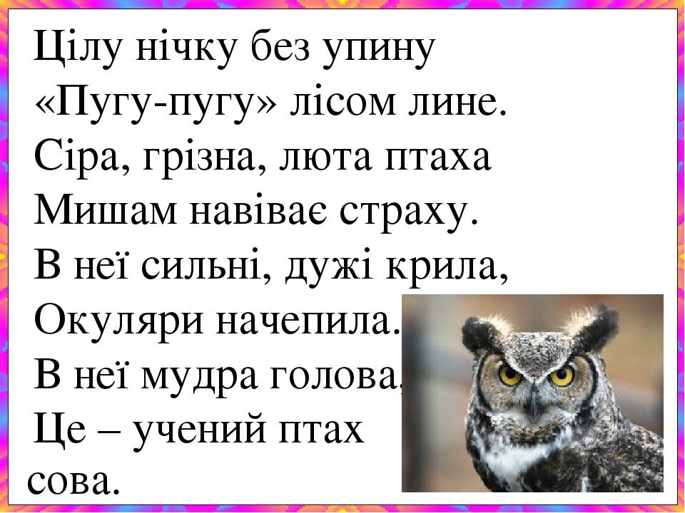 Цілу нічку без упину «Пугу-пугу» лісом лине. Сіра, грізна, люта птаха Мишам навіває страху. В неї сильні, дужі крила, Окуляри начепила. В неї мудра...