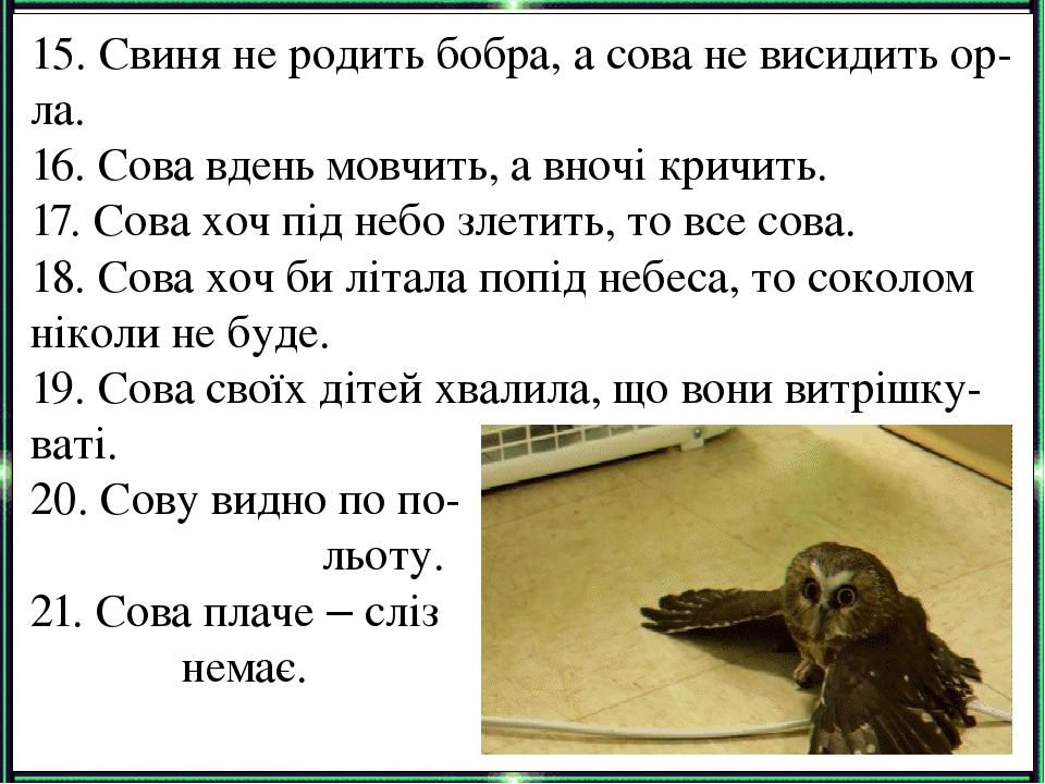 15. Свиня не родить бобра, а сова не висидить ор-ла. 16. Сова вдень мовчить, а вночі кричить. 17. Сова хоч під небо злетить, то все сова. 18. Сова ...
