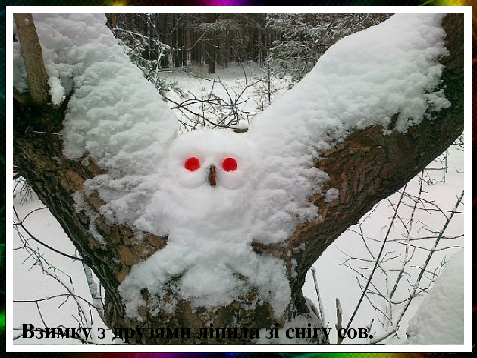 Взимку з друзями ліпила зі снігу сов.