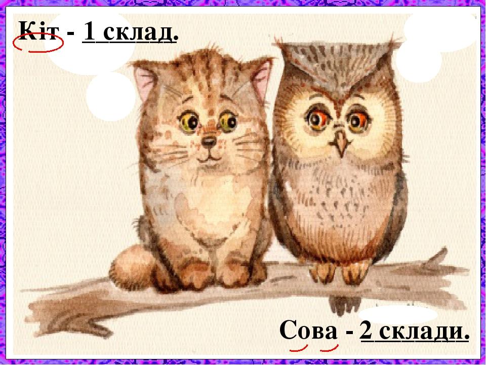 Кіт - _______ 1 склад. Сова - ________ 2 склади.