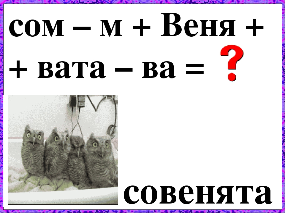 сом – м + Веня + + вата – ва = совенята