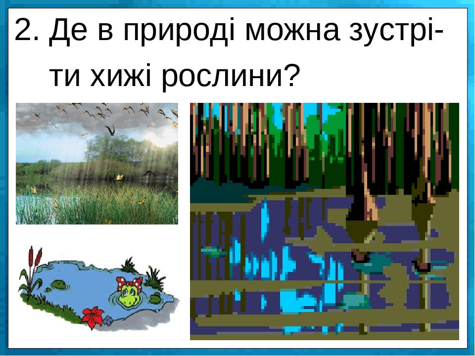 2. Де в природі можна зустрі- ти хижі рослини?