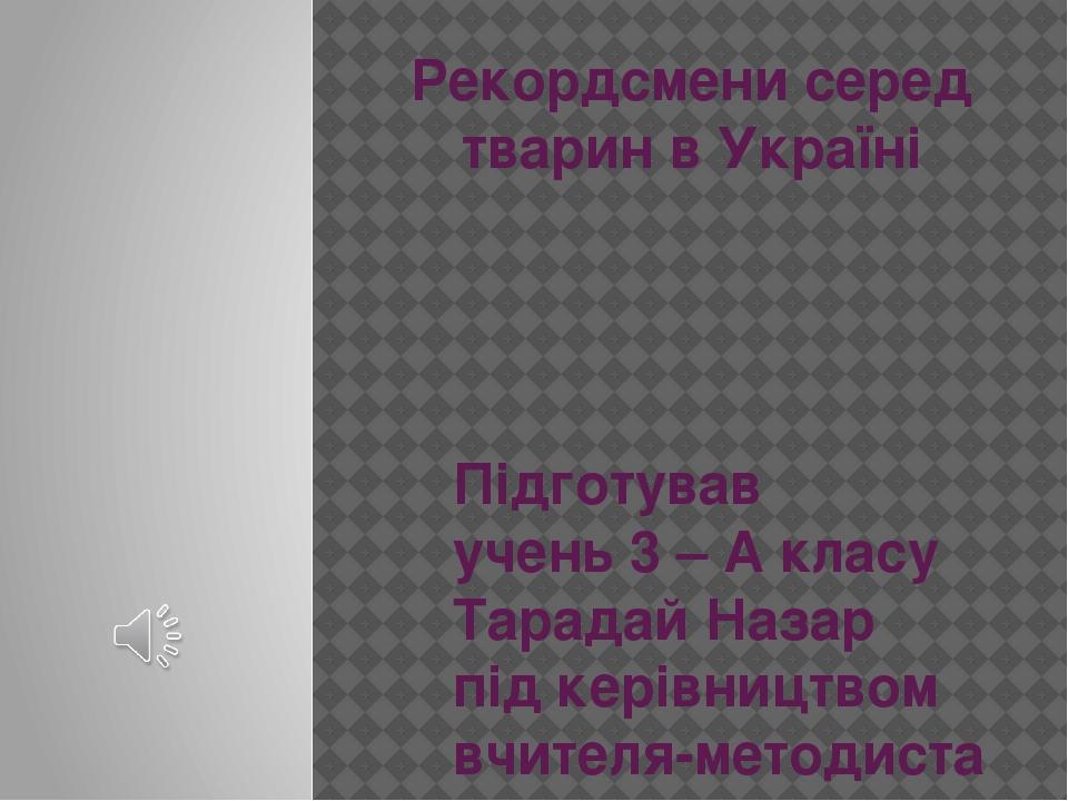 Рекордсмени серед тварин в Україні Підготував учень 3 – А класу Тарадай Назар під керівництвом вчителя-методиста Омельчук Н. М.