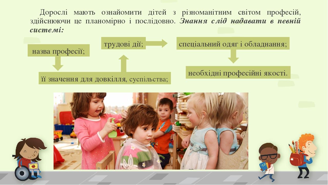 Дорослі мають ознайомити дітей з різноманітним світом професій, здійснюючи це планомірно і послідовно. Знання слід надавати в певній системі: назва...