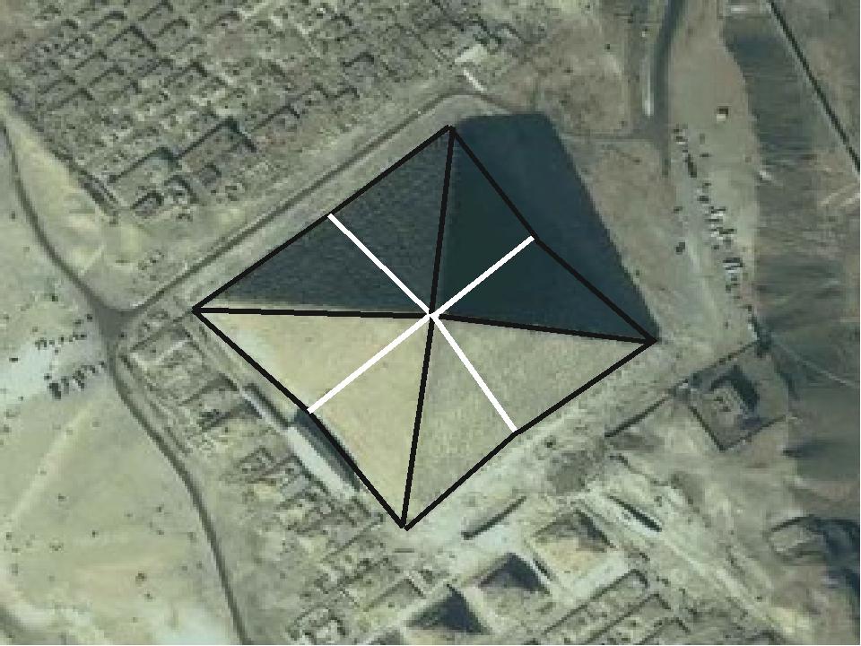 6) Насправді у Піраміди Хеопса 8 граней, так як кожна з 4-х зігнута ще в середині. Це ускладнює процес побудови, так як всі блоки мають різну велич...