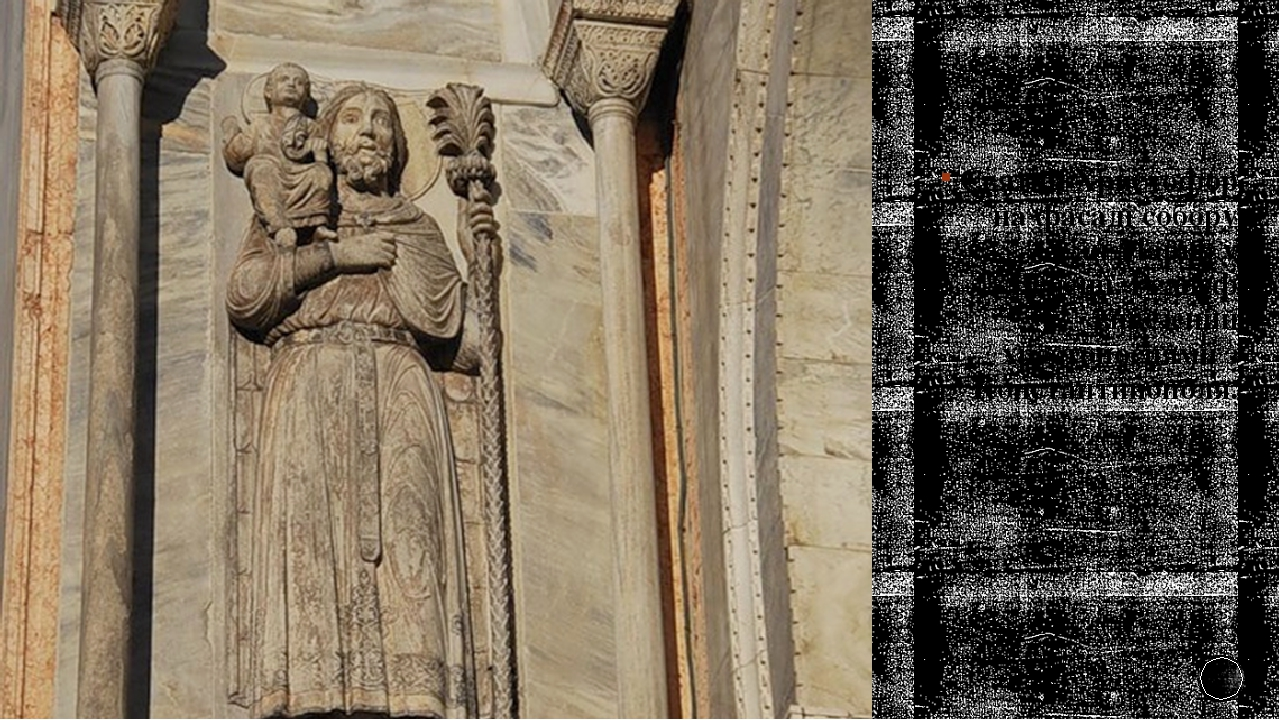 Святий Христофор на фасаді собору Сан Марко у Венеції. Рельєф вивезений хрестоносцями з Константинополя.