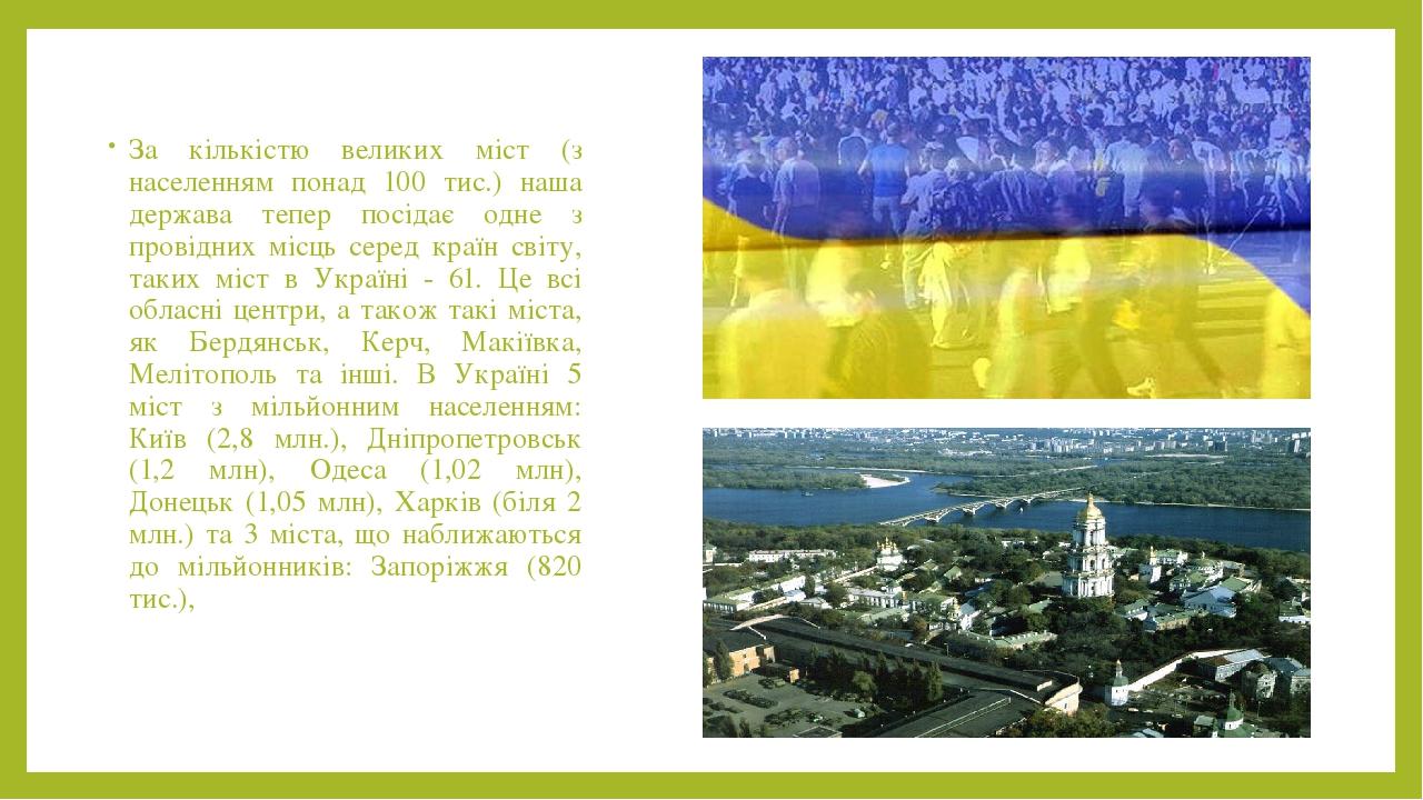За кількістю великих міст (з населенням понад 100 тис.) наша держава тепер посідає одне з провідних місць серед країн світу, таких міст в Україні -...