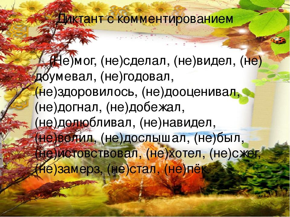 Диктант с комментированием (Не)мог, (не)сделал, (не)видел, (не) доумевал, (не)годовал, (не)здоровилось, (не)дооценивал, (не)догнал, (не)добежал, (н...