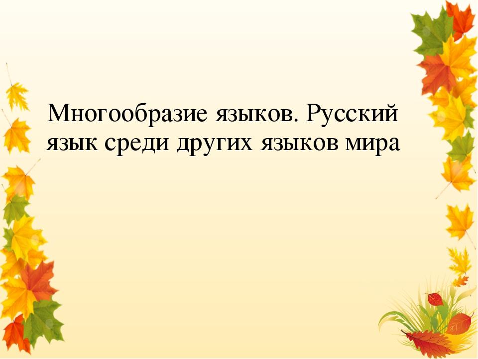 Многообразие языков. Русский язык среди других языков мира
