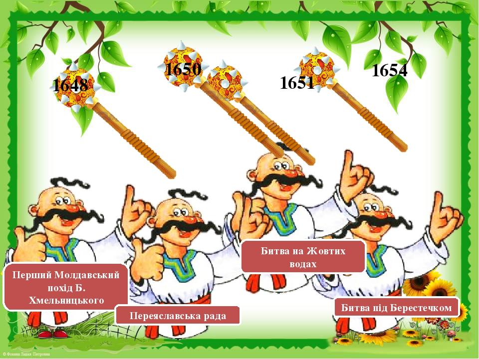 1648 1650 1651 1654 Перший Молдавський похід Б. Хмельницького Переяславська рада Битва на Жовтих водах Битва під Берестечком