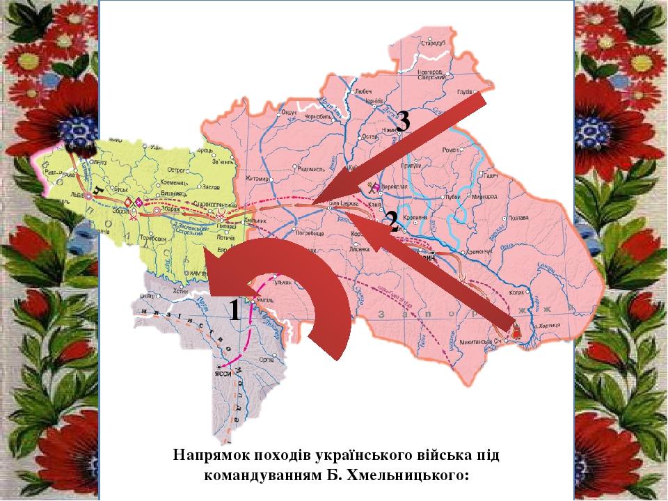 Заголовок підзаголовок 1 3 2 Напрямок походів українського війська під командуванням Б. Хмельницького: