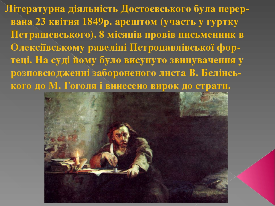 Літературна діяльність Достоєвського була перер- вана 23 квітня 1849р. арештом (участь у гуртку Петрашевського). 8 місяців провів письменник в Олек...