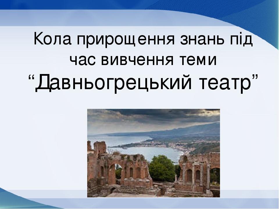 """Кола прирощення знань під час вивчення теми """"Давньогрецький театр"""""""