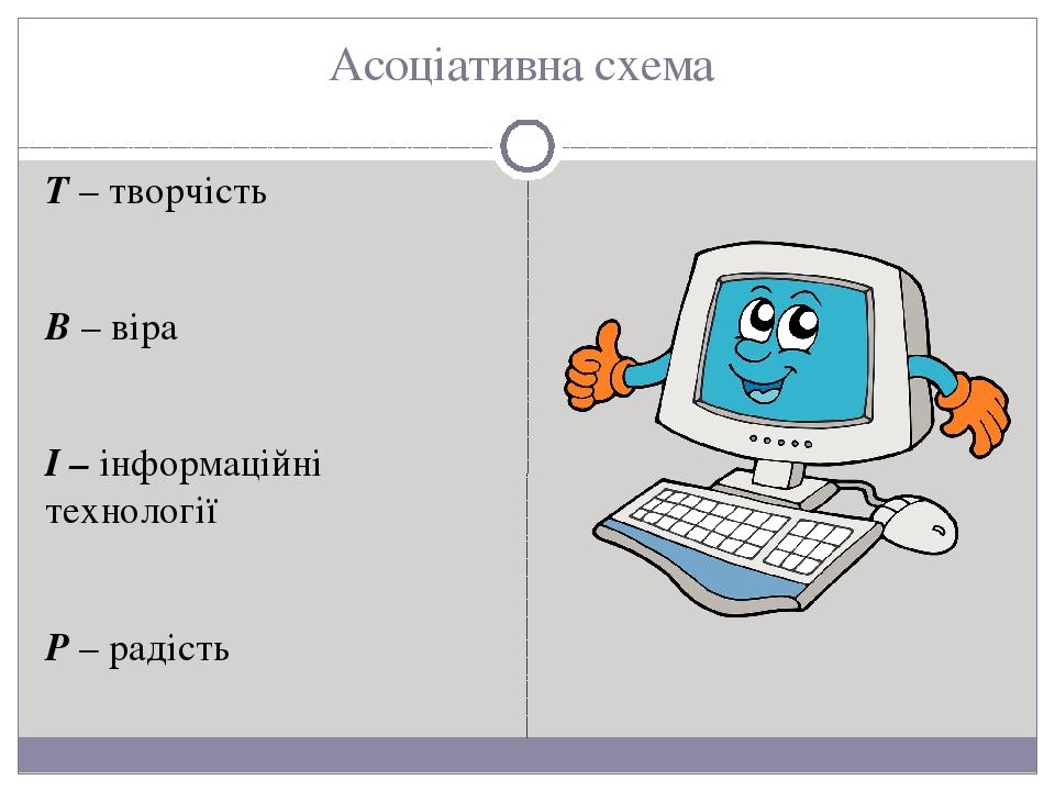 Асоціативна схема Т – творчість В – віра І – інформаційні технології Р – радість
