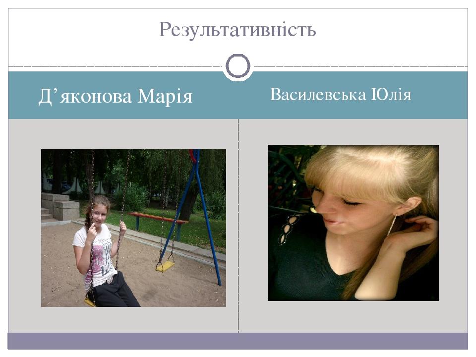 Д'яконова Марія Василевська Юлія Результативність