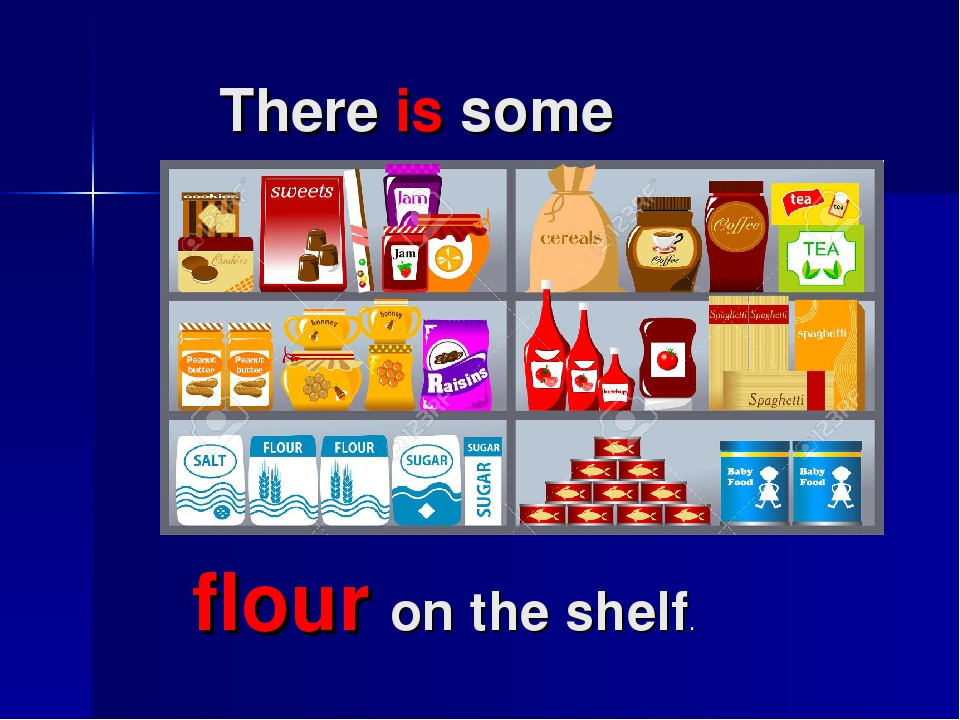 There is some flour on the shelf.