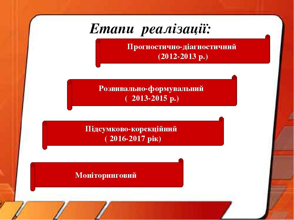 Етапи реалізації: Прогностично-діагностичний (2012-2013 р.) Розвивально-формувальний ( 2013-2015 р.) Підсумково-корекційний ( 2016-2017 рік) Моніто...