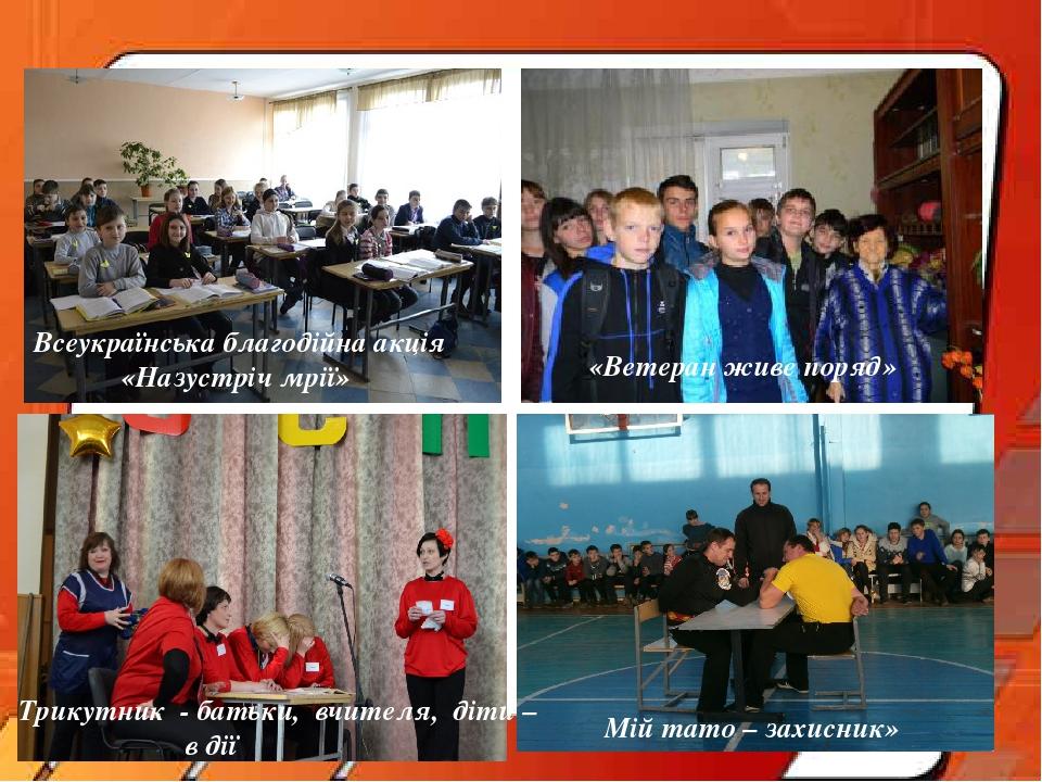 Всеукраїнська благодійна акція «Назустріч мрії» «Ветеран живе поряд» Трикутник - батьки, вчителя, діти – в дії Мій тато – захисник»