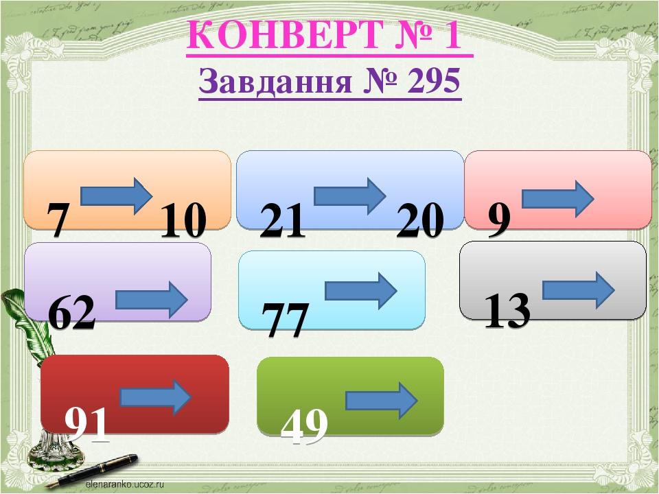 КОНВЕРТ № 1 Завдання № 295 7 10 21 20 9 62 77 13 91 49
