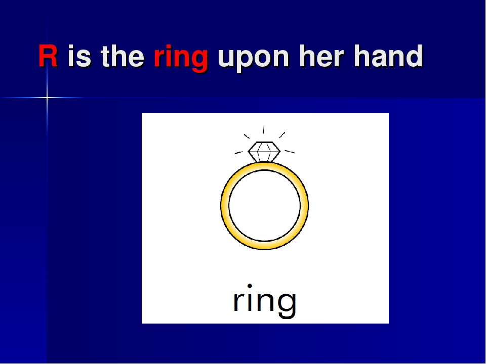 R is the ring upon her hand