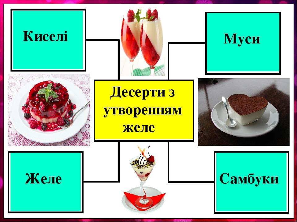 Десерти з утворенням желе Киселі Муси Желе Самбуки