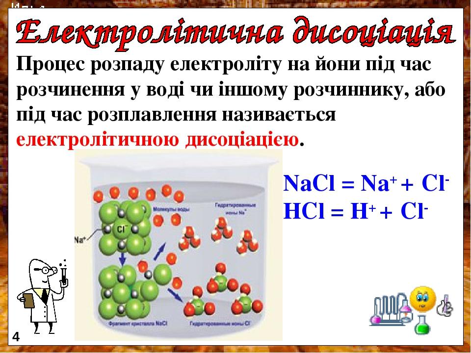 Процес розпаду електроліту на йони під час розчинення у воді чи іншому розчиннику, або під час розплавлення називається електролітичною дисоціацією...