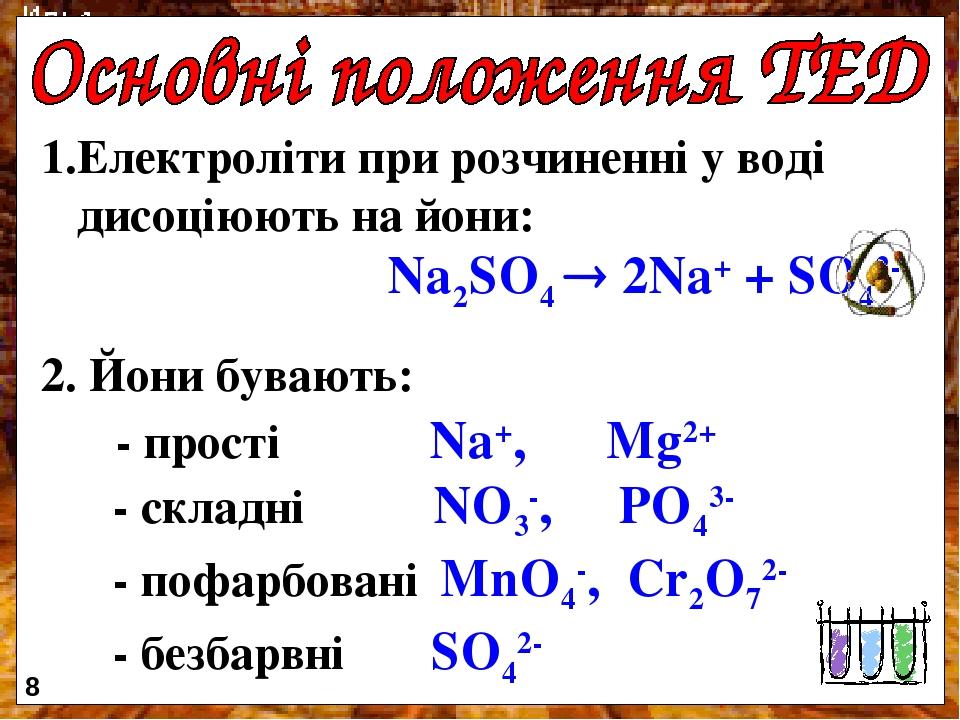 Електроліти при розчиненні у воді дисоціюють на йони: Na2SO4  2Na+ + SO42- 2. Йони бувають: - прості Na+, Mg2+ - складні NO3-, PO43- - пофарбовані...