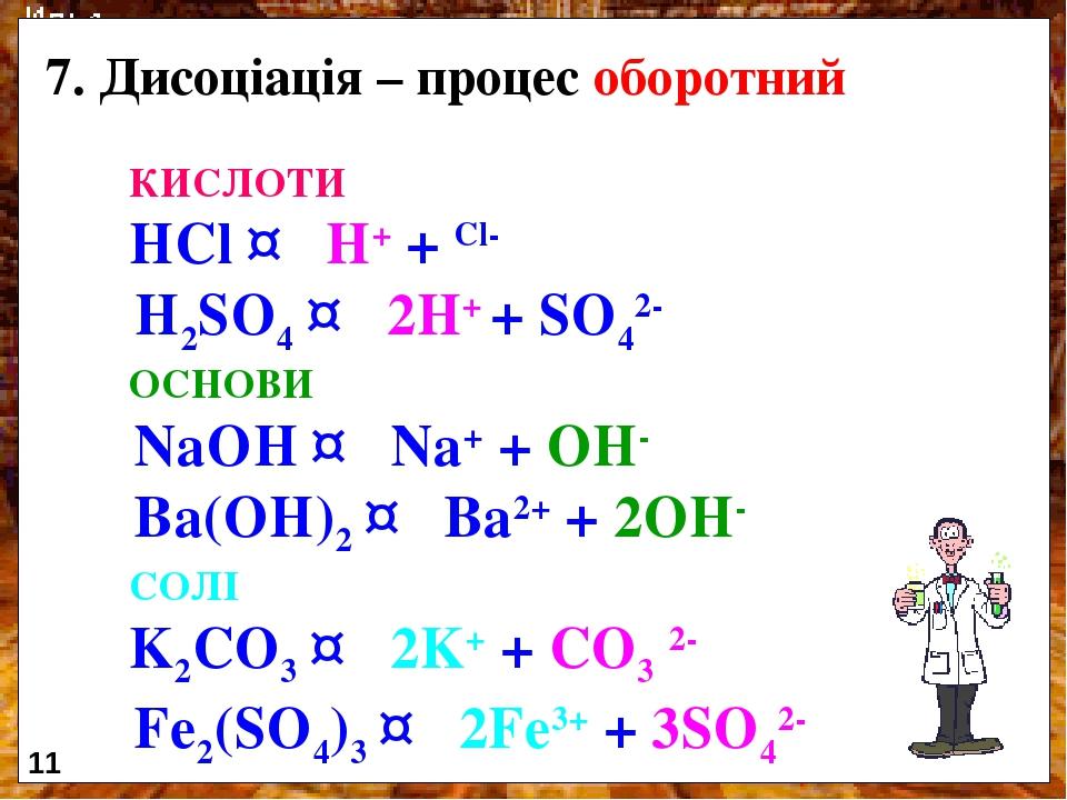 Дисоціація – процес оборотний КИСЛОТИ HCl ↔ H+ + Cl- H2SO4 ↔ 2H+ + SO42- ОСНОВИ NaOH ↔ Na+ + OH- Ba(OH)2 ↔ Ba2+ + 2OH- СОЛІ K2CO3 ↔ 2K+ + CO3 2- Fe...