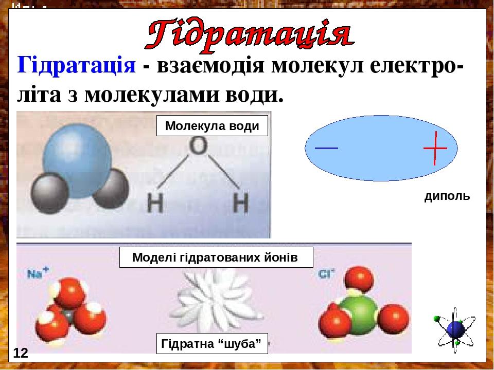 """Гідратація - взаємодія молекул електро- літа з молекулами води. диполь Моделі гідратованих йонів Молекула води Гідратна """"шуба"""" 12"""