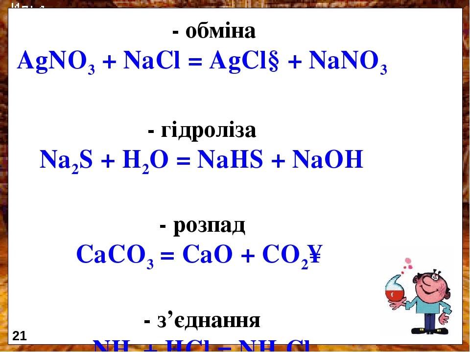 - обміна AgNO3 + NaCl = AgCl↓+ NaNO3 - гідроліза Na2S + H2O = NaHS + NaOH - розпад CaCO3 = CaO + CO2↑ - з'єднання NH3 + HCl = NH4Cl 21