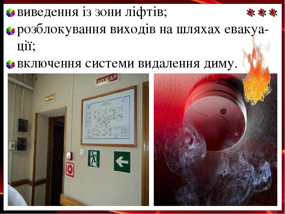 виведення із зони ліфтів; розблокування виходів на шляхах евакуа- ції; включення системи видалення диму.