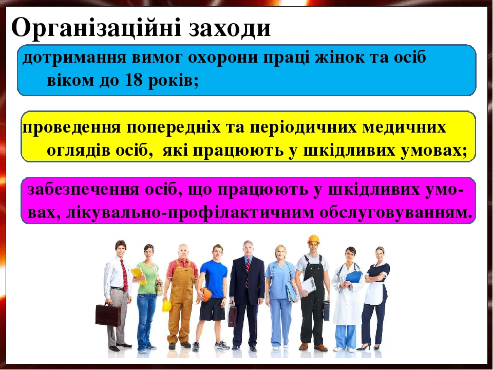 дотримання вимог охорони праці жінок та осіб віком до 18 років; проведення попередніх та періодичних медичних оглядів осіб, які працюють у шкідливи...