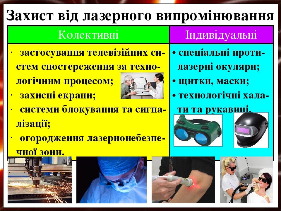 Захист від лазерного випромінювання Колективні Індивідуальні застосування телевізійнихси- стемспостереження затехно- логічним процесом; захисні екр...