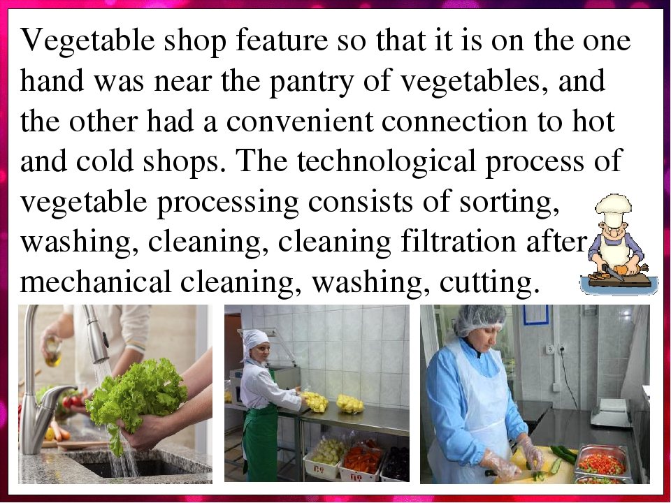 Vegetable shop feature so that it is on the one hand was near the pantry of vegetables, and the other had a convenient connection to hot and cold s...