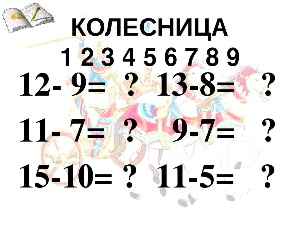 КОЛЕСНИЦА  1 2 3 4 5 6 7 8 9  13-8= ?  9-7= ?  11-5= ?
