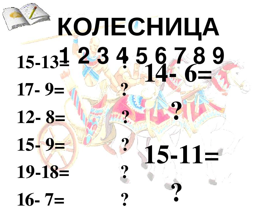 КОЛЕСНИЦА  1 2 3 4 5 6 7 8 9  15-13= ?  17- 9= ?  12- 8= ?  15- 9= ?  19-18= ?  16- 7= ?