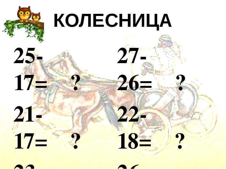 КОЛЕСНИЦА  25-17= ?  21-17= ?  23-17= ?  22-13= ?