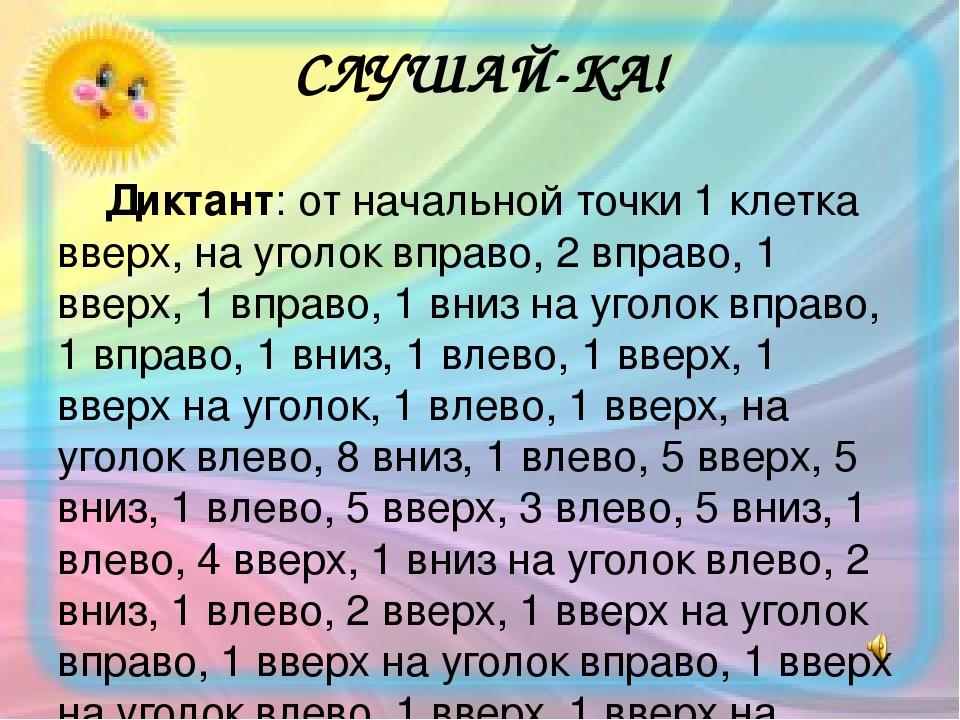 СЛУШАЙ-КА! Диктант: от начальной точки 1 клетка вверх, на уголок вправо, 2 вправо, 1 вверх, 1 вправо, 1 вниз на уголок вправо, 1 вправо, 1 вниз, 1 ...