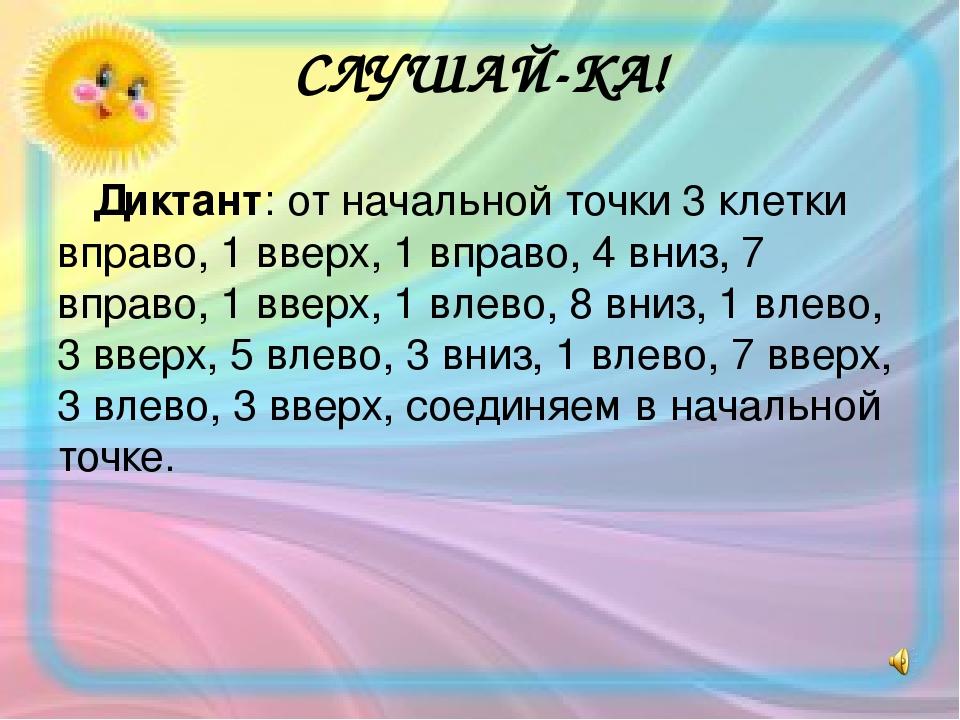 СЛУШАЙ-КА! Диктант: от начальной точки 3 клетки вправо, 1 вверх, 1 вправо, 4 вниз, 7 вправо, 1 вверх, 1 влево, 8 вниз, 1 влево, 3 вверх, 5 влево, 3...