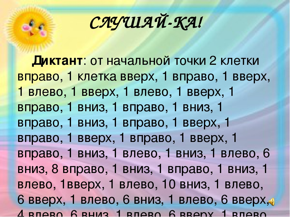 СЛУШАЙ-КА! Диктант: от начальной точки 2 клетки вправо, 1 клетка вверх, 1 вправо, 1 вверх, 1 влево, 1 вверх, 1 влево, 1 вверх, 1 вправо, 1 вниз, 1 ...