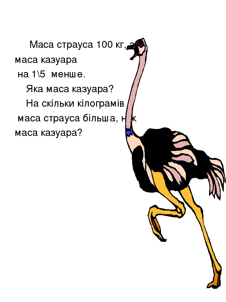 Маса страуса 100 кг, а маса казуара на 1\5 менше. Яка маса казуара? На скільки кілограмів маса страуса більша, ніж маса казуара?