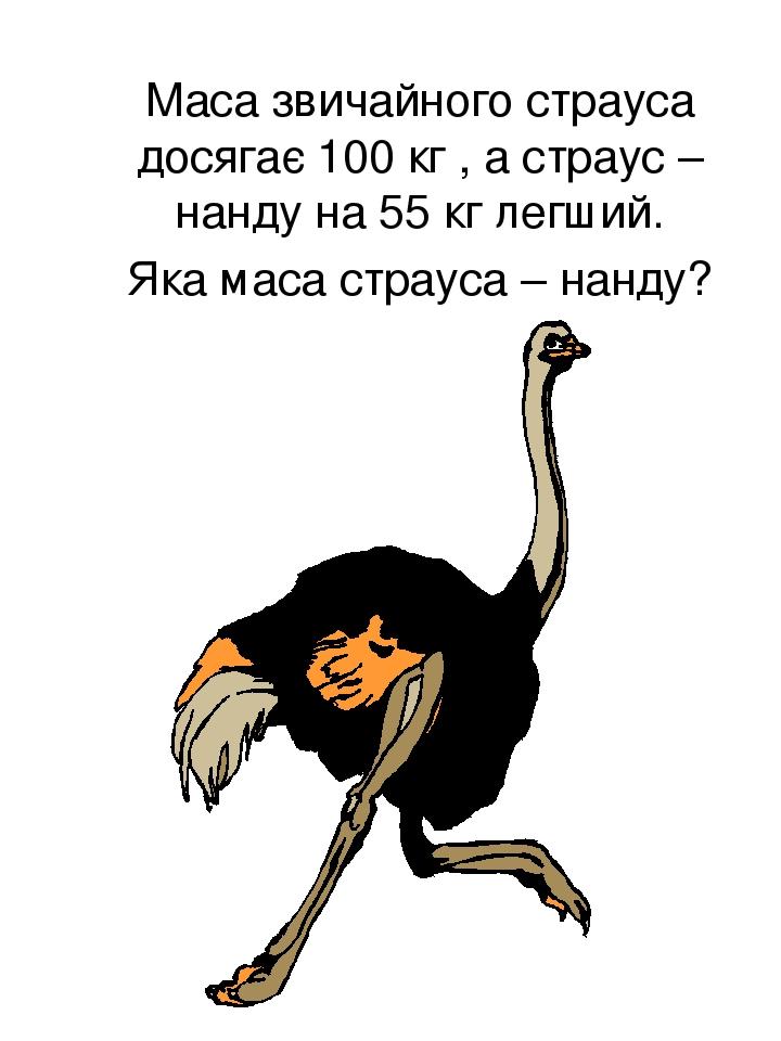 Маса звичайного страуса досягає 100 кг , а страус – нанду на 55 кг легший. Яка маса страуса – нанду?